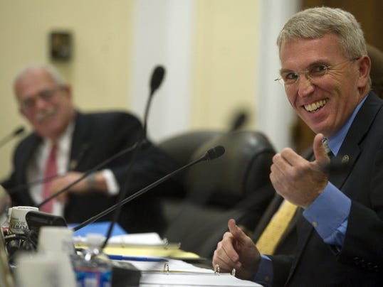 This Jason Plotkin photo shows Congressman Gerry Connolly (D-VA) and Congressman Todd Platts joking around before the start of the Subcommittee on Government Organization, Efficiency and Financial Management in Washington D.C. a few weeks ago.