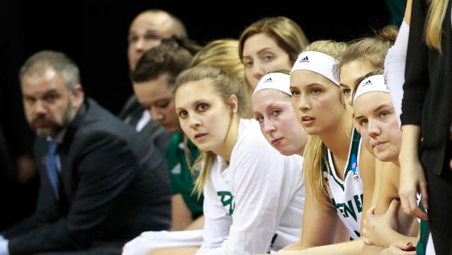 Players on the UWGB bench watch as the seconds tick away in the team's first-round game against Minnesota in the NCAA tournament Friday in Eugene, Ore.