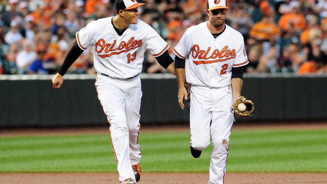 Baltimore Orioles shortstop J.J. Hardy is congratulated by third baseman Manny Machado after making a catch in the third inning