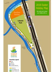 A map of Labonte Park shows reserved spaces available