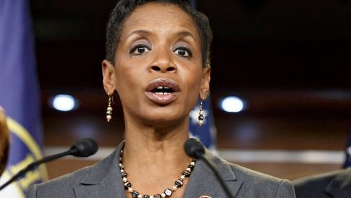 Rep. Donna Edwards, D-Md. speaks on Capitol Hill in Washington. Edwards who joined the race to replace retiring Sen. Barbara Mikulski, is hoping to become the first African American elected to the Senate from her state.