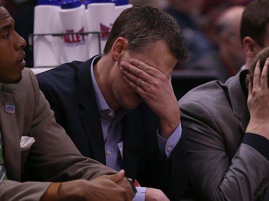 Missouri State head coach Paul Lusk hangs his head