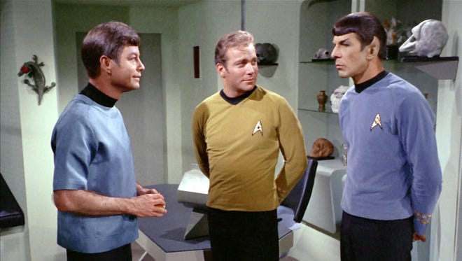 McCoy, Kirk, and Spock in the original series