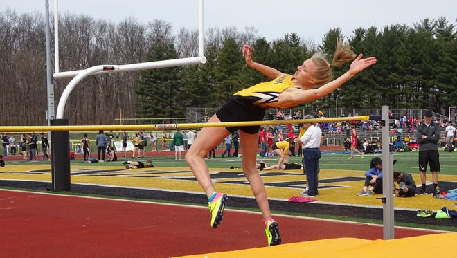 Watkins Memorial's Lindsey Finnegan clears the bar at 5-feet-2 during this past Saturday's Watkins Icebreaker.