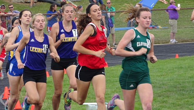 Liberty Union senior Kenley French competes Saturday in the 1,600 during the Division II regional meet at Lexington. French placed third in a time of 5:07.17.
