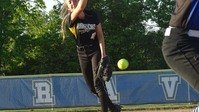 Watkins Memorial junior Carly Brandon throws a pitch during a Division I tournament game in May.