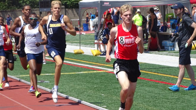 Heath's Taylor Hopkins leads the first lap of the 800 on Saturday during the Midwest Meet of Champions at Ohio Wesleyan.
