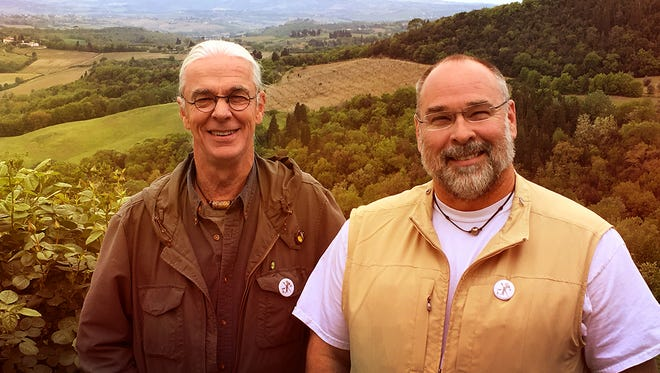 """In season two of """"Palate to Palette,"""" chef Robert St. John, right, and watercolorist Wyatt Waters share delectable dishes and serene scenes from their tour of Tuscany in Italy."""