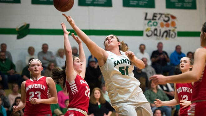 Seton Catholic Central's Julia Hauer makes a layup during the third quarter against Waverly on Tuesday.