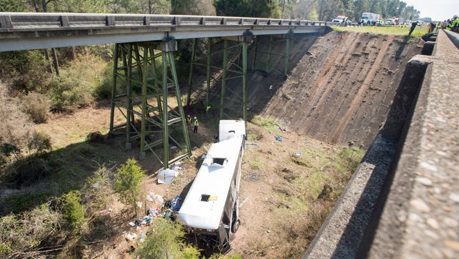 A west bound charter bus crashed into a ravine on I-10 in Alabama on Tuesday, March 13, 2018.  The driver was confirmed dead.