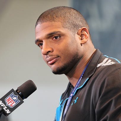 Feb 22, 2014; Indianapolis, IN, USA; Missouri Tigers defensive end Michael Sam speaks at the NFL Combine at Lucas Oil Stadium.