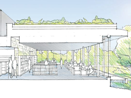 A concept rendering of the glass-walled reading gallery
