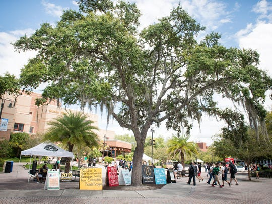 A large tree shades the walkway outside the Student Union, the heart of the UCF campus.