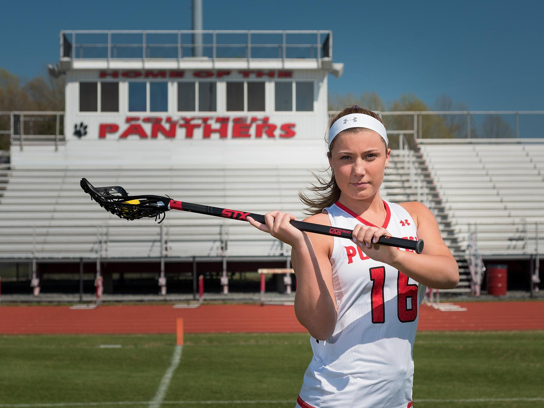 Polytech senior Jamie Trabaudo, a North Carolina signee, scored the 200th goal of her high school career last Wednesday against Caesar Rodney.