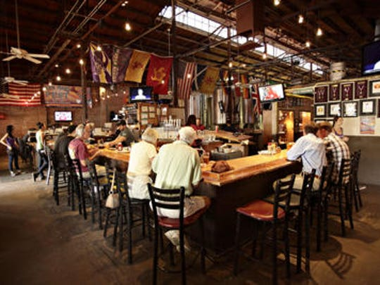 A lunch crowd at Four Peaks Brewery, which is housed in Tempe's old Creamery Building.