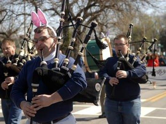 The Louisville Pipe Band performs during the Frankfort Avenue Easter Parade in 2015.