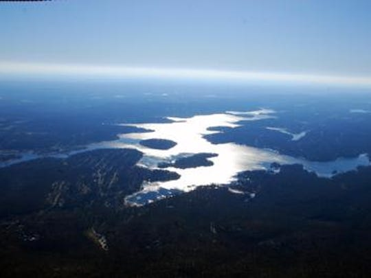 An aerial view of Lake Hopatcong.