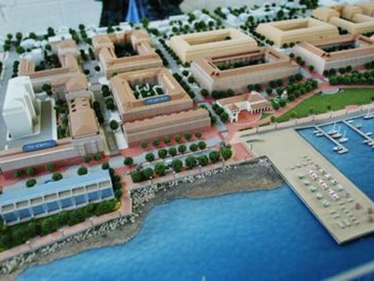 A section of the 2003 model of the first phase of the $600 million mixed-use development project along the waterfront in Perth Amboy. Only two buildings were ever constructed and residents are suing the developer for consumer fraud.