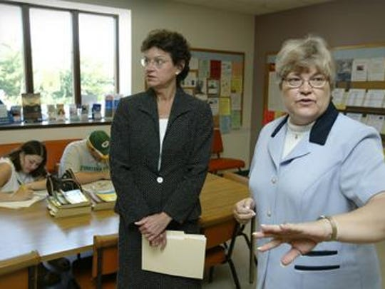 Iowa had flirted with closing unemployment offices for years. In this 2004 photo, for example, former Lt . Gov. Sally Pederson appeared at the Ames unemployment office where she announced Iowa had enough money to keep dozens of the offices open for at least two more months. The Ames office was ultimately closed by Gov. Terry Branstad and his administration in 2011. (Also pictured, Penny Dow, a 2004 employee of the Ames unemployment office.)