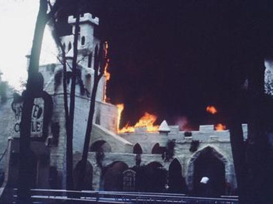 Great Adventure Haunted Castle Fire During the evening