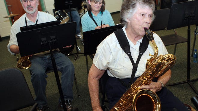 Ginny Sundin plays in  the Mason Community Band in 2010.