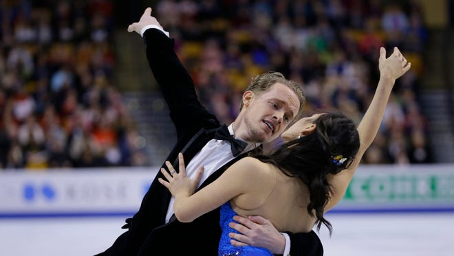 Americans Madison Chock and Evan Bates, who train in Novi, compete during the ice dance short program at the World Figure Skating Championships on Wednesday, March 30, 2016, in Boston.