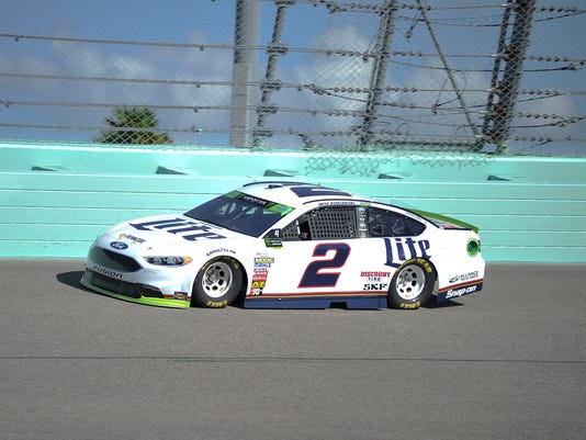 Brad Keselowski qualifies for Sunday's NASCAR Cup Series Ford EcoBoost 400 at Homestead-Miami Speedway, Saturday, Nov. 18, 2017, in Homestead, Fla.(AP Photo/Gaston De Cardenas)