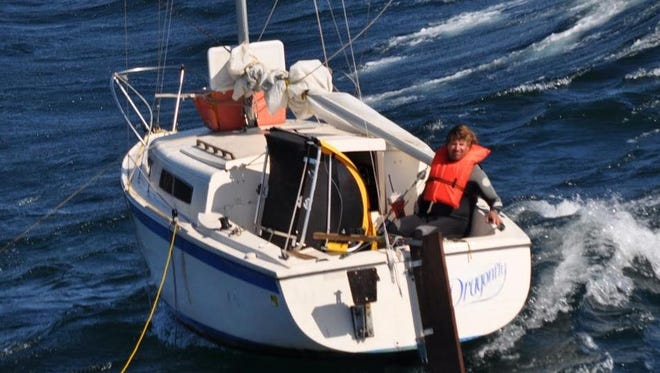 Coast Guard personnel out of Point Mugu rescued this boater Thursday near San Miguel Island.