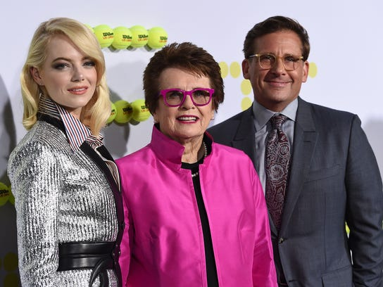 """FILE - In this Sept. 16, 2017 file photo, Emma Stone, from left, tennis great Billie Jean King and Steve Carell arrive at the Los Angeles premiere of """"Battle of the Sexes"""" in Los Angeles. Stone portrays King in the film. The story of the early days of the tour and King's fight for equal prize money is chronicled in the movie, which opened nationwide on Friday. (Photo by Jordan Strauss/Invision/AP, File)"""