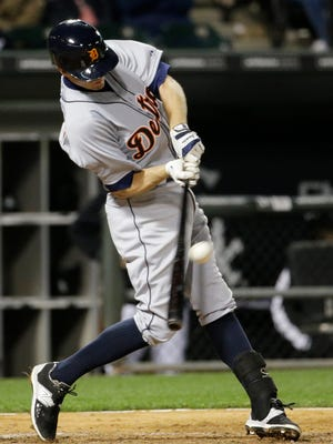 Josh Wilson hits a two-run single for the Detroit Tigers last season. Wilson, an eight-year MLB veteran, signed with the York Revolution on Friday.