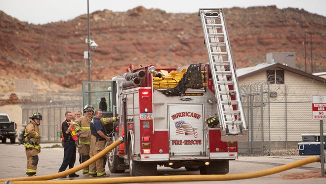 Firefighters respond to a fire at Purgatory Correctional Facility Friday, March 11, 2016.