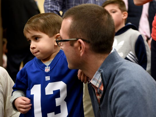 Tommy FitzPatrick, 5, and his father Andrew FitzPatrick on April 8, 2018.