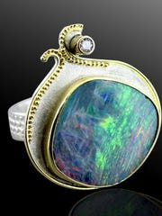This brilliantly colored ring made by Janet Alexander shows the fine craftsmanship in her one of a kind jewelry pieces