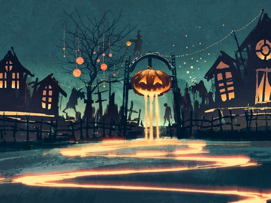Halloween night with pumpkin and haunted houses