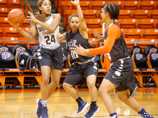 UTEP point guard Faith Cook applies the defensive pressure