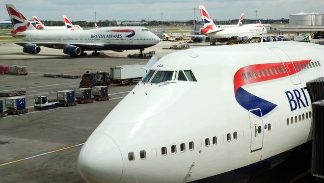 British Airways Boeing 747 at London Heathrow Airport's Terminal 5 on July 14, 2011.