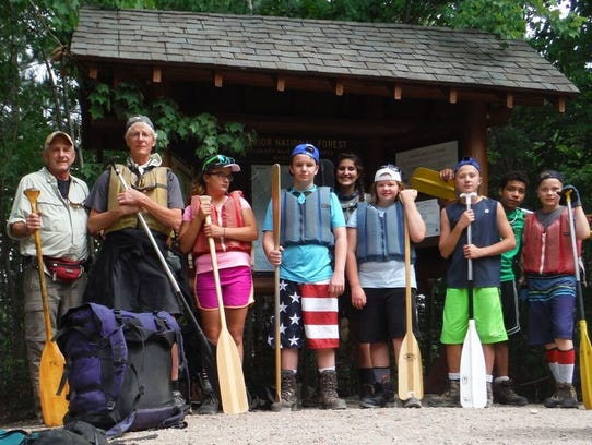 A Crow River Trail Guards group paddled in the Boundary
