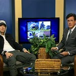 "Eminem, left, is Stephen Colbert's guest on ""Only in Monroe."""