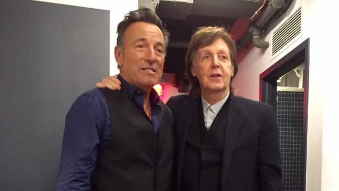 "Bruce Springsteen and Paul McCartney backstage at ""Saturday Night Live."""