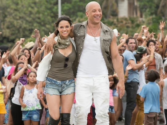 Michelle Rodriguez and Vin Diesel in 'The Fate of the