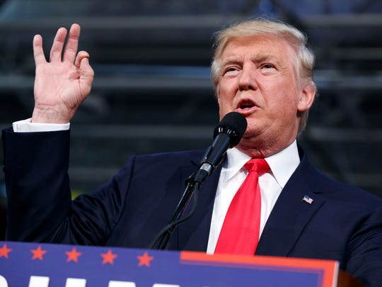 Republican presidential candidate Donald Trump speaks during a campaign rally on Monday in Ambridge, Pennsylvania.