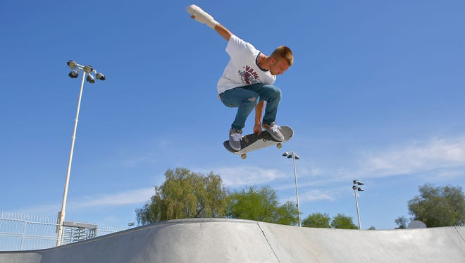 Michael Bieger gets some air while skating at the skate park at La Quinta Park, April 4, 2016. The city wants to build an X Park in north La Quinta and on Monday, representatives of skate park design company Spohn Ranch led a forum in which potential users were asked what features they would want.