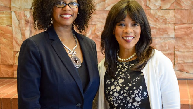 Dr. Kimberly Scott (left) and Kim Covington at the CGEST launch.