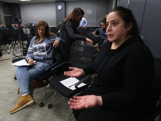 Judy Basso of Mohegan Lake, left, and Mara Sime of Scarsdale attend a panel discussion on cashless tolling issues on the Gov. Mario Cuomo Bridge at The Journal News in White Plains Jan. 9, 2018.