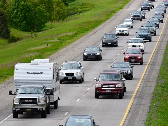 Holiday traffic on Interstate 94 heading toward the
