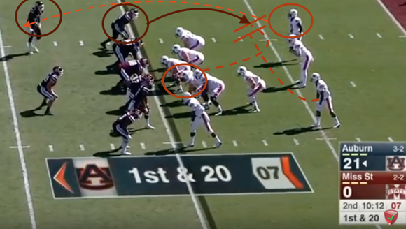 Auburn gets 42 yards on this wheel route pass and it