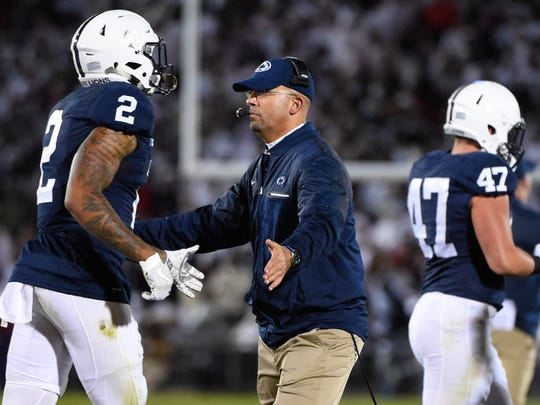 Penn State coach James Franklin saw safety Marcus Allen (2) come up with arguably the Play of the Year for the Lions in their upset victory at home over Ohio State.