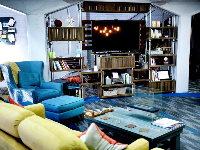 The Campfire creative area equipped with a TV inside