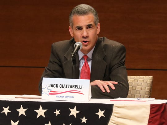 Republican gubernatorial candidate Jack Ciattarelli makes a statement during his debate with the other Republican candidate Kim Guadagno.