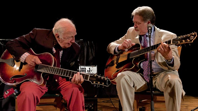 CAPTION  Guitarist Bucky Pizzarelli (left), who will turn 92 on Tuesday, will be honored with a concert at the Bickford Theatre at the Morris Museum on Monday. Among the musicians performing at the concert will be Pizzarelli's song, bassist Martin, and his longtime collaborator, guitarist Ed Laub (right).